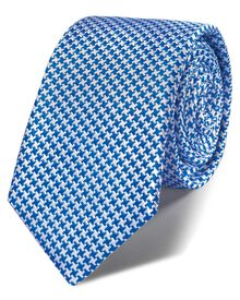 Royal blue silk classic puppytooth slim tie