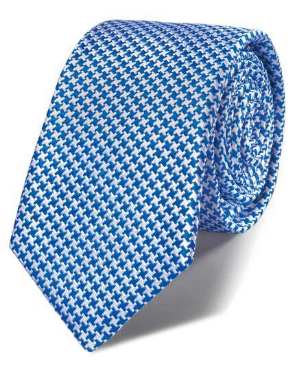 Royal blue silk classic puppytooth slim tie