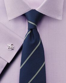 Slim fit non-iron Buckingham weave lilac shirt