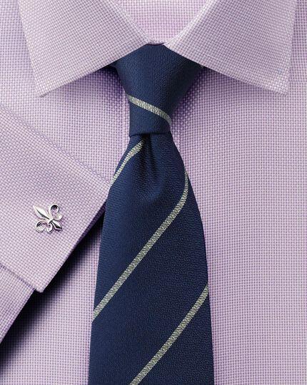 Slim fit non-iron Buckingham weave lilac shirt