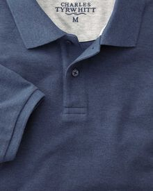 Slim fit Indigo pique polo