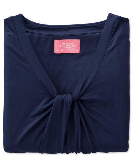 Women's navy knot detail jersey top