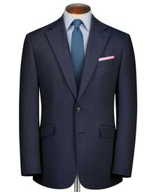 Airforce blue slim fit herringbone business suit jacket