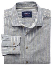 Slim fit denim blue stripe textured shirt