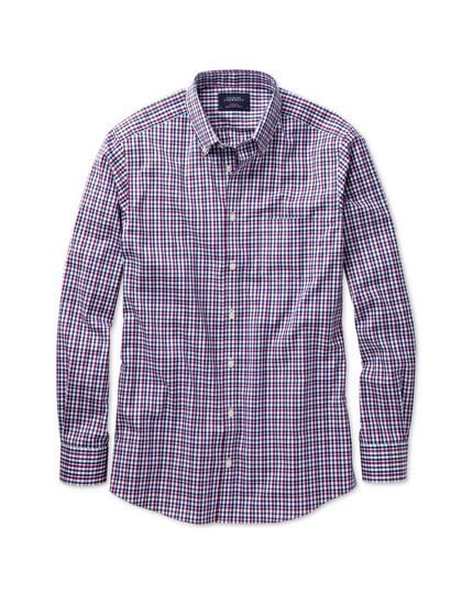 Slim fit non-iron poplin pink and blue multi check shirt
