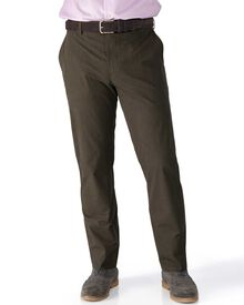 Brown slim fit Prince of Wales check stretch trousers