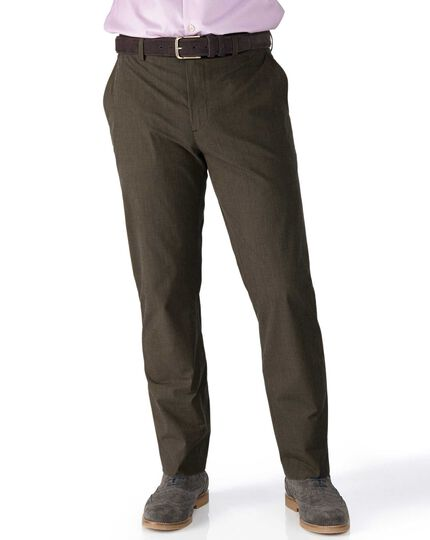 Brown slim fit Prince of Wales check stretch pants
