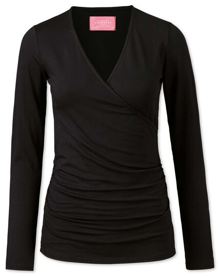 Women's black jersey wrap top