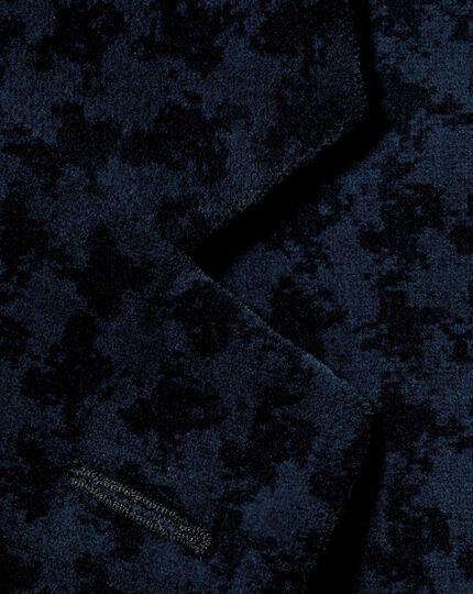 Slim fit navy geometric velvet jacket