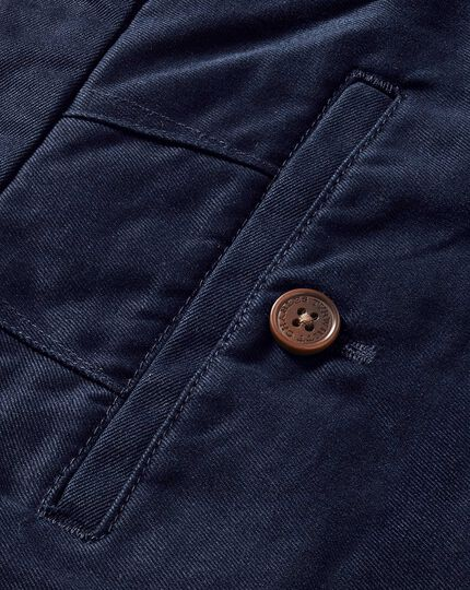 Navy slim fit flat front chinos
