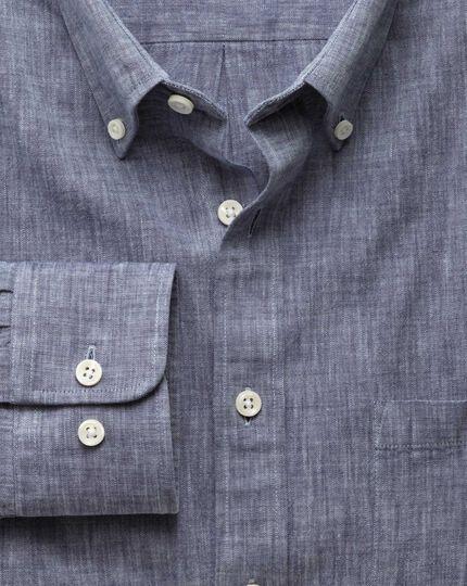 Slim fit navy chambray shirt