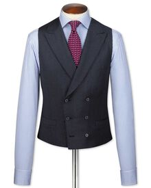 Blue British serge puppytooth luxury suit waistcoat