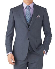 Light blue classic fit sharkskin travel suit jacket