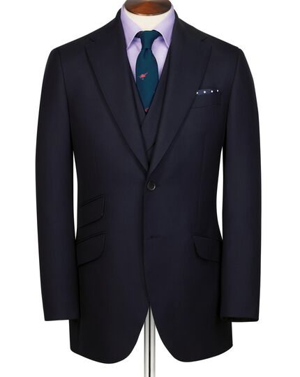 Navy slim fit British hopsack luxury suit jacket