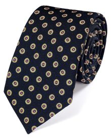 Navy and pink wool printed luxury tie
