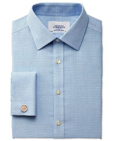 Classic fit non-iron textured check blue shirt