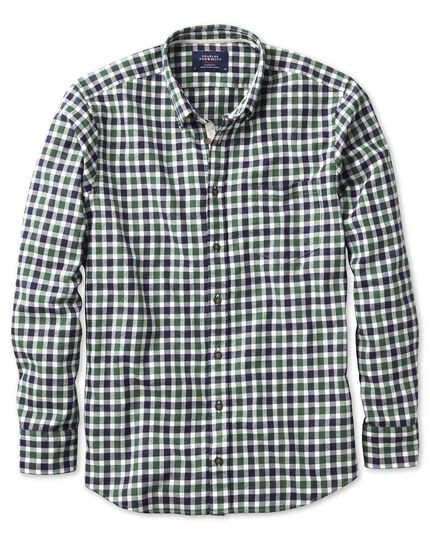 Extra slim fit green and navy check brushed dobby shirt