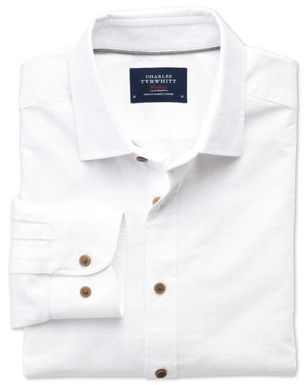 Classic fit white dobby textured spot shirt