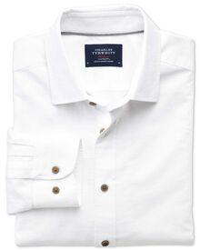 Slim fit spread collar white dobby textured spot shirt