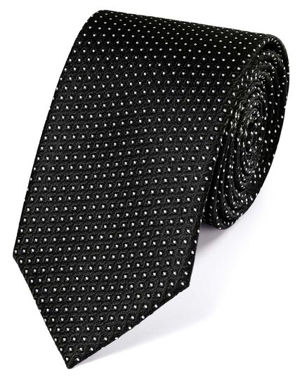 Black and white silk neat pattern classic tie