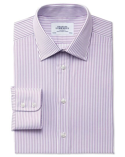 Classic fit Egyptian cotton stripe white and purple shirt