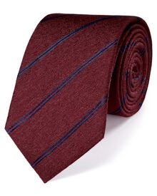 Wine and navy classic melange striped tie