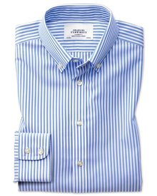 Slim fit button-down non-iron sky blue stripe check shirt