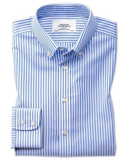 Slim fit button-down non-iron sky blue stripe check shirt