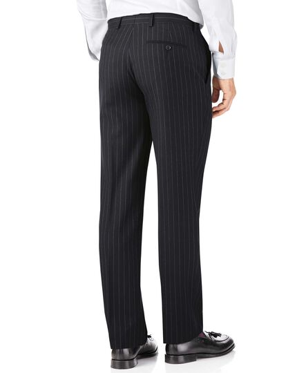 Navy stripe classic fit twill business suit trouser