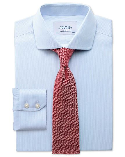 Slim fit spread collar non-iron mouline stripe sky blue shirt