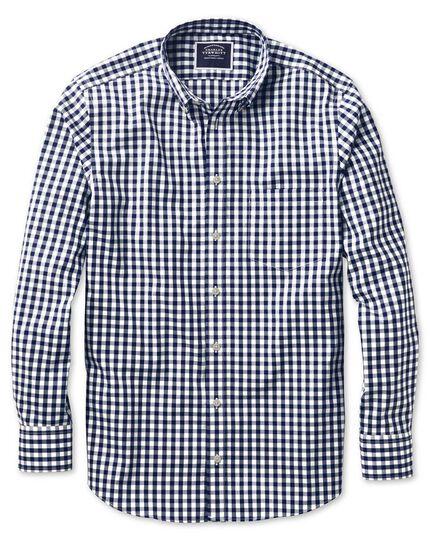 Classic fit non-iron poplin navy check shirt