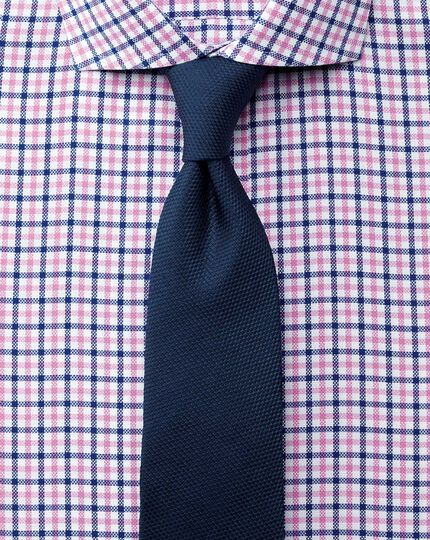 Extra slim fit cutaway collar non-iron royal Oxford check blue and pink shirt