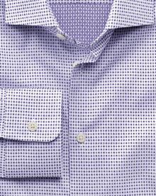 Slim fit semi-spread collar business casual square double face purple shirt
