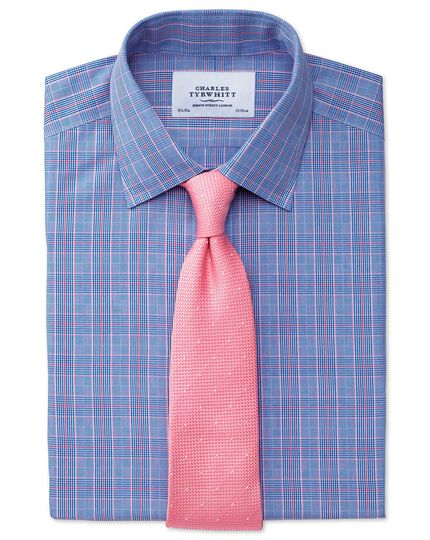 Classic fit non-iron Prince of Wales blue and pink shirt
