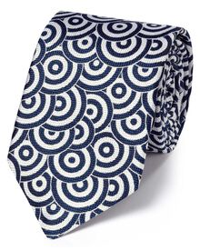 Blue and white silk end-on-end luxury tie