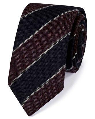 Navy and purple wool Shetland wool stripe Italian luxury tie