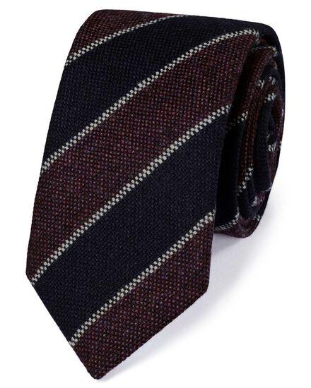 Luxuriöse italienische Krawatte aus Shetlandwolle in Marineblau und Lila mit Streifen