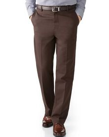 Dark brown classic fit flat front non-iron chinos