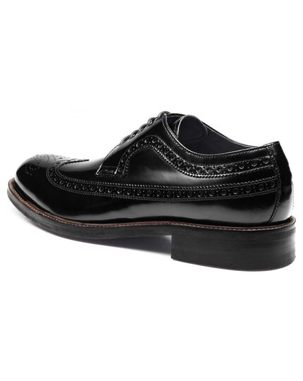 Black Brunswick wingtip brogue Derby shoes