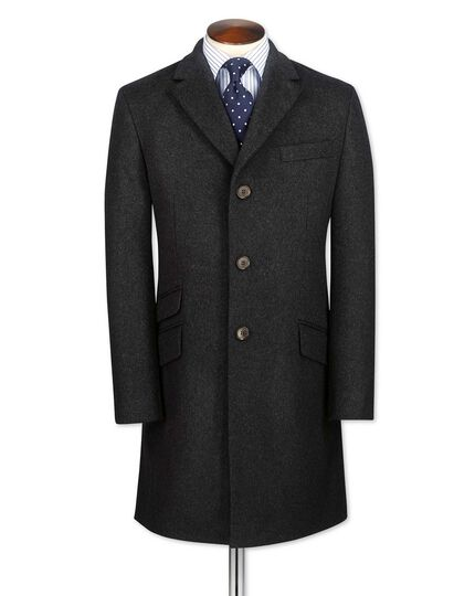 Charcoal wool and cashmere Epsom overcoat