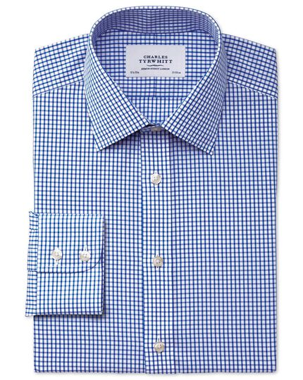 Classic fit non-iron grid check navy shirt