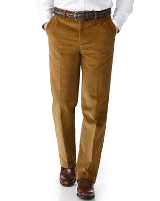 Yellow classic fit jumbo cord trousers