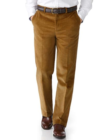 Yellow classic fit jumbo cord trousers