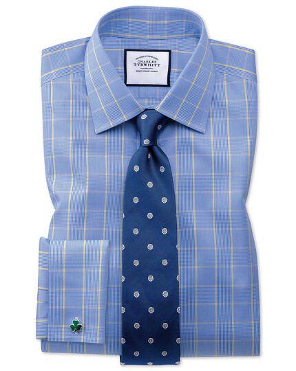 Chemise bleue et or extra slim fit Prince de Galles sans repassage