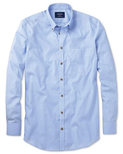 Classic fit non-iron poplin sky blue stripe shirt