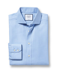 Extra slim fit cutaway collar non-iron herringbone sky blue shirt