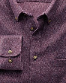 Classic fit dark red Donegal shirt