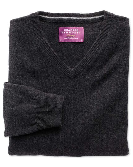 Charcoal cashmere v-neck jumper