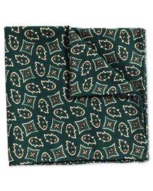 Pochette de costume de luxe verte en tissu italien avec imprimé géométrique
