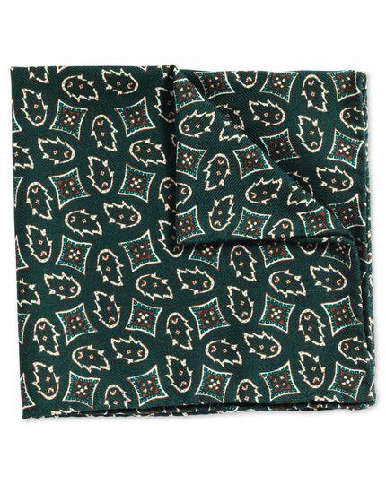 Luxuriöses italienisches Einstecktuch in Grün mit geometrischem Print